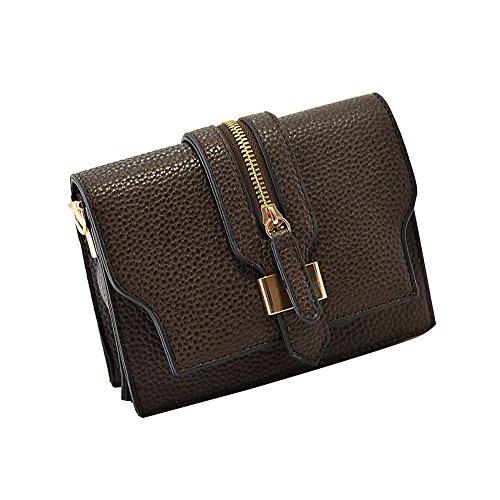 GSPStyle Damen Schultertasche Handtasche Reißverschluss Cross Body Tasche Umhängetasche Braun