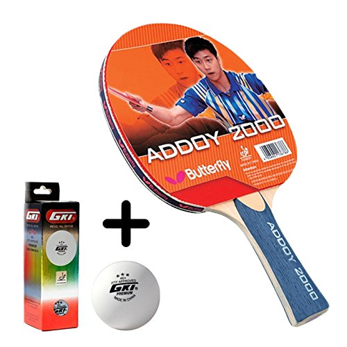 Butterfly Addoy 2000 Table Tennis Combo (Butterfly Addoy 2000 Table Tennis Bat + GKI Premium 3 Star 40 Table Tennis Ball, Box of 3 - White)  available at amazon for Rs.1449