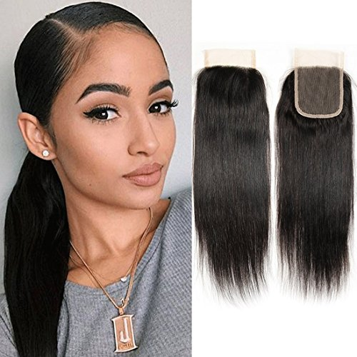 Brazilian Hair Closure Lace Front 4x4 Top Free Part 100 Human Hair Extensions Echthaar Natural Virgin Peruvian Hair (14 Closure) (100 Human Lace Hair)