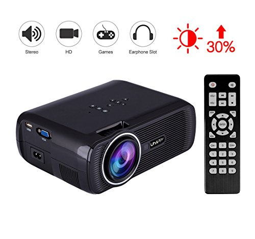 Uhappy U80 LED Mini Proyector de Video, 3000 Lumens Full HD 1080P Video Portátil Projector LED Home Cinema Apoyo HDMI VGA USB SD para PC TV Laptop Game Smartphone TV Box