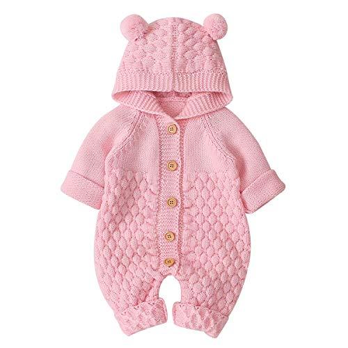 Haokaini Baby-Strampler mit Kapuze, gestrickt, Schneeanzug, Overall für Jungen und Mädchen 73(6-12Monate) Rosa