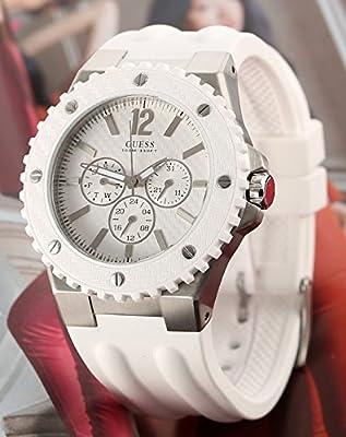 Guess W10603G1 - Reloj analógico de cuarzo para hombre con correa de caucho, color blanco de Guess