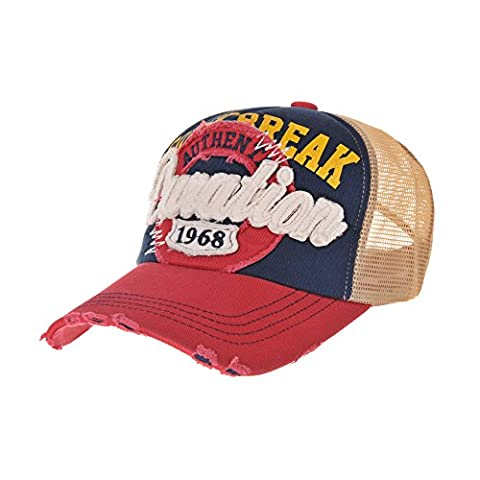 WITHMOONS Casquette de Baseball Meshed Baseball Cap Distressed Trucker Hat Star KR1185 (Red)