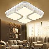 MCTECH® Modern Deckenleuchte 48W LED Deckenlampe Panel Lampe Energiespar Licht für Wohnzimmer Wandlampe Weiß Acryl-Schirm lackierte Rahmen Durchbohrte Design Warmweiß 530*530*130mm (Warmweiß)