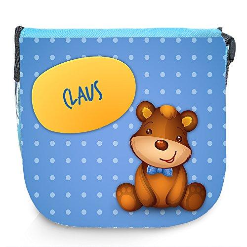 Umhängetasche für Kinder mit Namen Claus und schönem Motiv mit Bär | Schultertasche für Jungen (Claus Bär)
