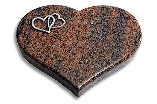 Grabplatte, Grabstein, Grabherz, Urnengrabstein Modell Coeur 40 x 30 x 7 cm Twilight Red-Granit, poliert inkl. Gravur (Aluminium-Ornament Herzen)