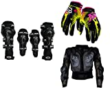 #8: Auto Pearl Premium Quality Bike Accessories Combo of AXO Motorcycle Racing Rider Elbow And Knee Guard Pads Protector Gear Black. & Fox Hand Grip Glove Green 1 Pair. & Fox Riding Gear Body Armor Protective Jacket For Bike - Black -Xtra Xtra Large.