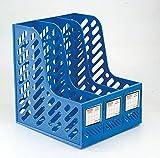 #3: Cartshopper Plastic File Holder Office Desk Organizer Literature Magazine Book Paper Document Folder Tray Desktop File Letter Caddy Supplies Sorter Organiser Frame Rack Storage Cabinet Container, 3-Compartment Slots, Blue