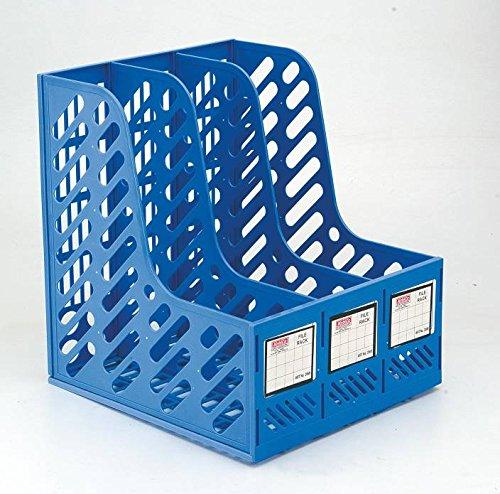 Cartshopper Plastic File Holder Office Desk Organizer Literature Magazine Book Paper Document Folder Tray Desktop File Letter Caddy Supplies Sorter Organiser Frame Rack Storage Cabinet Container, 3-Compartment Slots, Blue