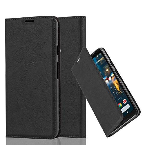 Cadorabo Hülle für Google Pixel 2 XL - Hülle in Nacht SCHWARZ - Handyhülle mit Magnetverschluss, Standfunktion & Kartenfach - Case Cover Schutzhülle Etui Tasche Book Klapp Style
