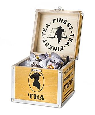 Creano Coffret Cadeau déco Bois « Floraison » Thé Noir 6 thés Fleuris en (3 Sortes différentes de Roses de thé)