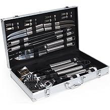 TecTake Set Kit Accessori Griglia Grigliata Barbecue, 25 pezzi, in acciaio inox con valigetta