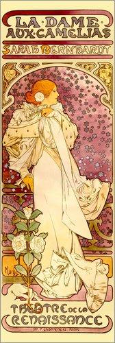 Poster 40 x 120 cm: La Dame aux Camélias - Sarah Bernhardt von Alfons Mucha - hochwertiger Kunstdruck, Kunstposter