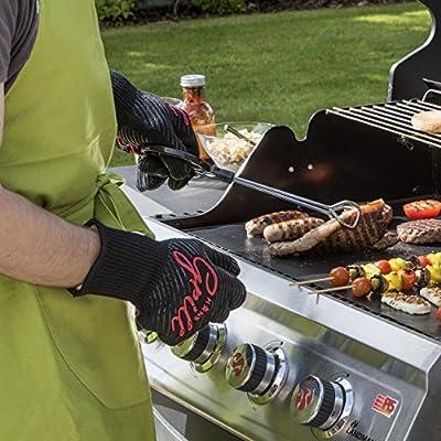 Grillhandschuhe Ofenhandschuhe - Hitzefeste BBQ Handschuhe von Hans Grill Topfhandschuhe Professionelle Zertifizierte Küchenhandschuhe 500°C 923°F 1 Paar