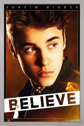 Close Up Justin Bieber Poster Believe (66x96,5 cm) gerahmt in: Rahmen Silber