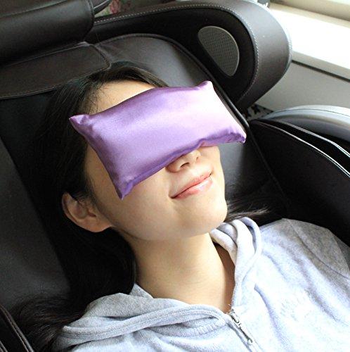 Jasmine Silk Weiches Augenkissen, Lavendel, 100% Seide mit Lavendel-Leinsamen-Füllung, für Yoga, Entspannung & Meditation