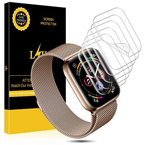L K 6 Stücke Kompatibel mit Apple Watch Schutzfolie (42mm Serie 4/3/2/1 44mm Serie 4/3/2/1), HD klar Flexible Folie [Blasenfreie][Max Abdeckung][Premium-Qualität] Displayschutzfolie -