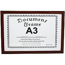 MARCO PARA DIPLOMAS, A4 Y A3, certificados, licencias, títulos académicos, títulos universitarios, de estudios superiores, documentos, decorativo, fotografías, puzles, horizontal o vertical (A3 MARRON)