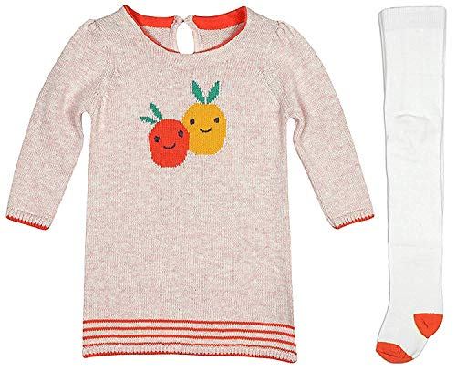 filles bébé en âge BAS fruits Pull tricot robe & collants Set tailles de nouveau-né pour 24 mois - Rose, 6 - 9 Months