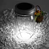 Solarglas Solarlampe Solar Laterne 4 LED Licht im Einmachglas Dekolampe Sun Jar Weiß