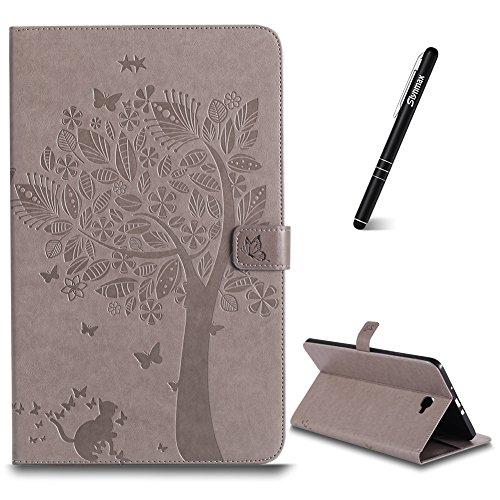 Hülle für Samsung Galaxy Tab A 10.1 Zoll SM-T580,Slynmax Katze Baum Schlank Stand Schutzhülle Smart Case Cover Tasche Flip Case Stand für Samsung Galaxy Tab A 10.1 Zoll SM-T580,Grau