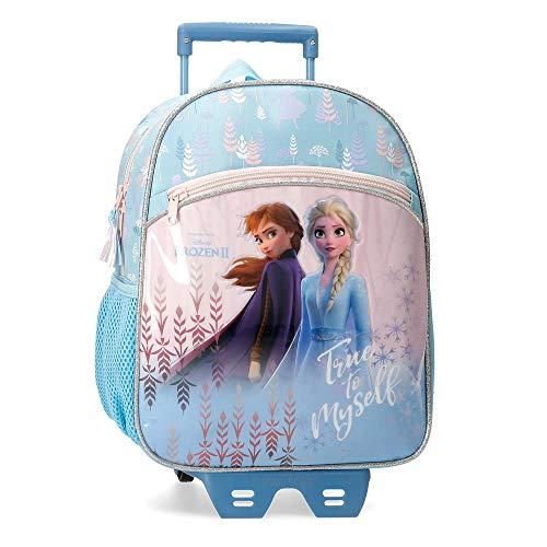 Disney Mochila Preescolar Frozen True to Myself con Carro, Color Azul, 33 cm
