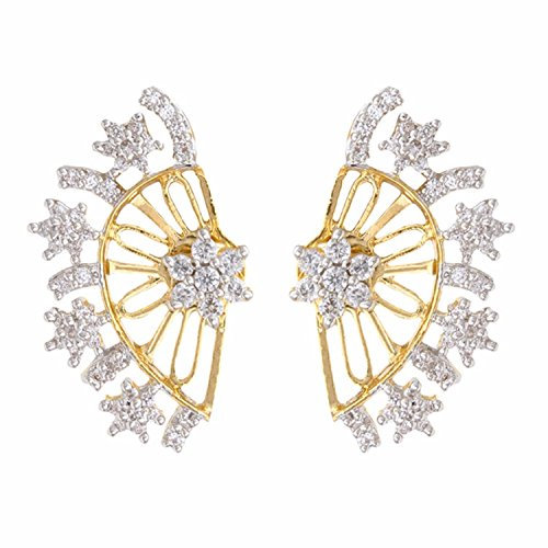 Gold Tone Indian Ethnic American Diamond Designer White Ear cuffs Earrings For Girls and Women (Fake White Gold Earrings Diamond)