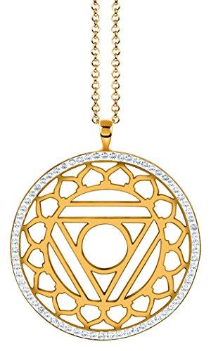 Nenalina Damenhalskette mit Hals – Vishuddha Chakra Anhänger in 925 Sterling Silber vergoldet mit Swarovski Steinen…