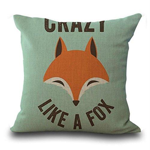 Lino y algodón casa sofá Vintage Mordern Decor cuadrado manta funda de almohada Funda para cojín (45,72cm x 45,72cm) diseño de ilustración serie Animales Mano dibujar zorro rojo