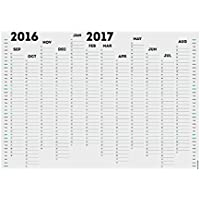 Bianco Out 2016–17anno accademico Calendario planner da parete organizer A2 (59.4 x 42 cm) Blank Planner White background with Black and a small amount of Blue Print