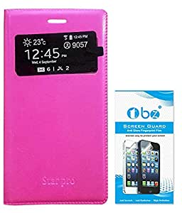 TBZ PU Leather Window Flip Cover for Samsung Galaxy Star Pro S7262 with Screen Guard -Magenta