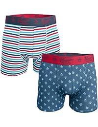 Original Penguin Mens All Over Print Stripe 2 Pack Boxer Shorts in Red Navy