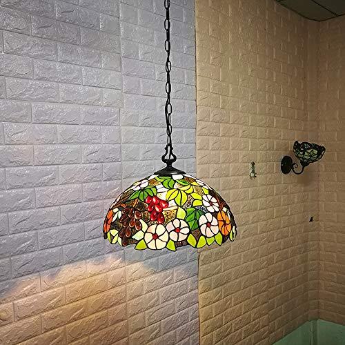 WXCCK Tiffany Hängelampe 16 Zoll LED Glas Lampenschirm Kristall Perle Kronleuchter Deckenstil Anhänger Für Esszimmer Wohnzimmer Schlafzimmer -