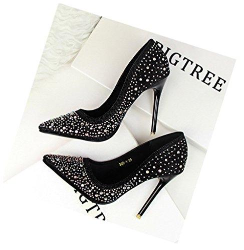Minetom Donna Pointed Toe Scarpe Strass Stiletto Shoes Scarpe Col Tacco Da Sposa Lucide Scarpe Con Tacco Scarpe Nero