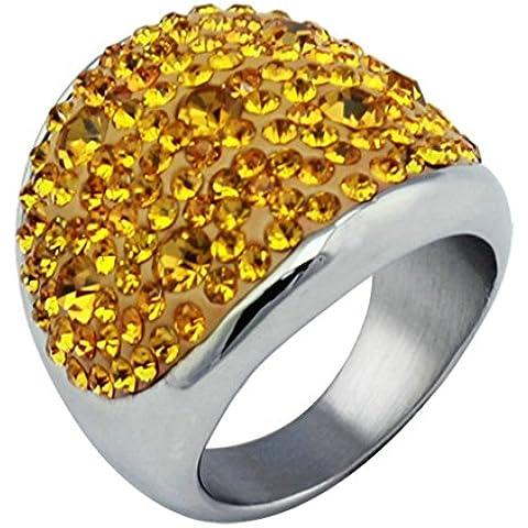 Alimab gioielli anelli donna Acciaio inossidabile Banda nozze liscio tondo ossido zirconio - Università Delle Donne Orologio Del Cuore
