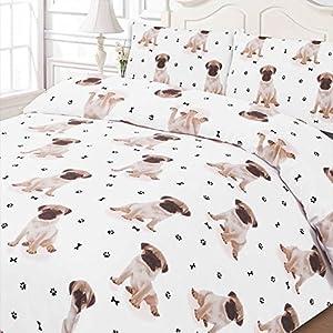 Dreamscene Luxuriös Weich Tier Mops Einzelbett Bettbezug Bettwäsche-Set mit Kissenbezügen, weiß,