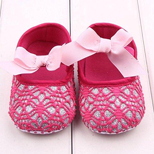 Saingace Bébés Filles Chaussures Espadrille Anti-dérapant Enfant Souple (12(12cm), Blanc) Rose chaud