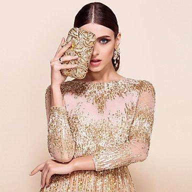 ZYT Damen-Hochzeit-Abendtasche-Metall Gold