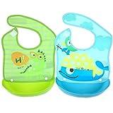 2 Pezzi Baby Bavaglino Impermeabile Morbidi Silicone - Tyidalin Bambini Bavaglini con Velcro Facile da Pulire Briciola Collettore per Neonato Bambini
