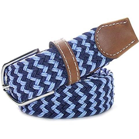 Vollter Forma onda Stretch gomma elastica della cinghia della lega fibbia ad ardiglione tessuto cintura per gli uomini / donne