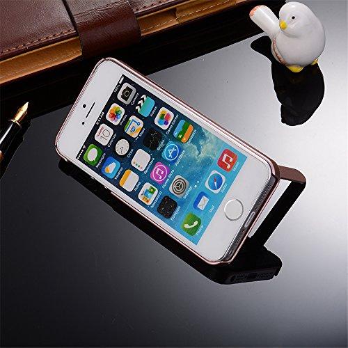 Skitic Coque pour iPhone 5 / 5S / SE, Design Brossé Case Cover avec Kickstand PC Bumper Hard Rugged Shell Contre les Chocs Housse Etui de Protection pour iPhone 5 / 5S / SE - Bleu Or Rose