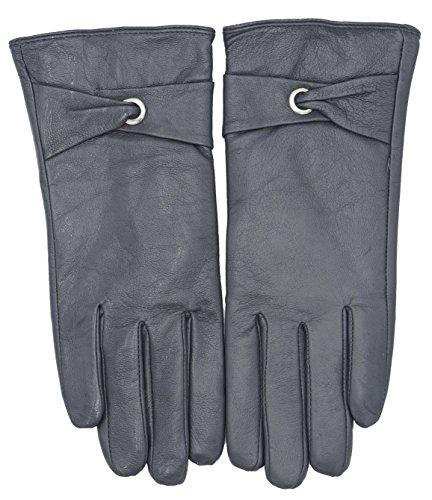 Damen Leder Handschuhe Pelz Gefüttert Echtes Nappa Leder (L/XL, Model2 Grau)