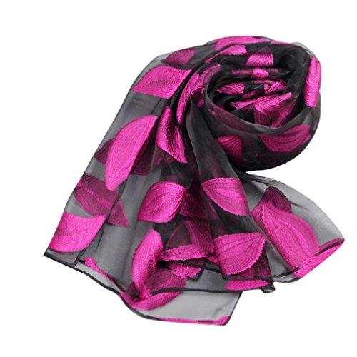 Frauen Blätter lange weiche Wrap Schal Damen Schal Organza Schal Schals (Hot Pink) (Hot Pink Schal)