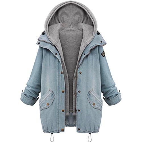 Mujer con capucha La chaqueta caliente del invierno Outwear by LMMVP (Azul, XXL)