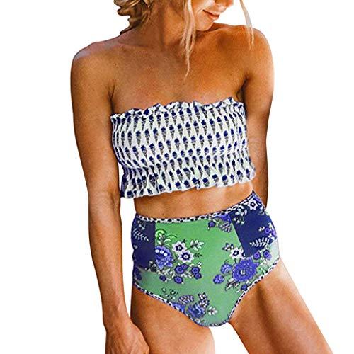 Damen Bademode Bikini Set Badeanzug Wellpappe gefaltet Tube Up Zweiteiliger Bikini Neckholder Mode Design Niedlich Bademode Set BandeauStrandkleidung Geteilter Badeanzug Sommer Sportliches Bikini -