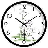 XcjJJ-Simplicidad Creativa y Reloj de Pared de Lotus Fresco / Salón Dormitorio Reloj Silencioso,B,16 pulgadas