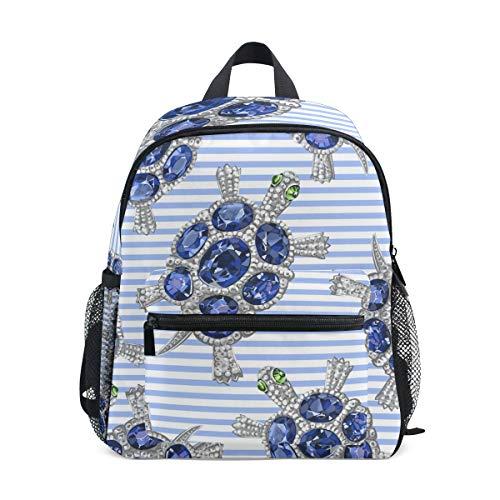 CPYang Kinder-Rucksack mit Edelsteinen, Schildkröten-Streifen, Schultasche, Kindergarten, Kleinkinder, Vorschulrucksack für Jungen und Mädchen -
