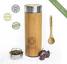 Infusor de té de bambú con colador de acero inoxidable café taza de viaje-aislado al vacío, frutas y jugo infusor, de hojas de, portátil 450ml botella de agua vaso. BPA, óxido, y fugas