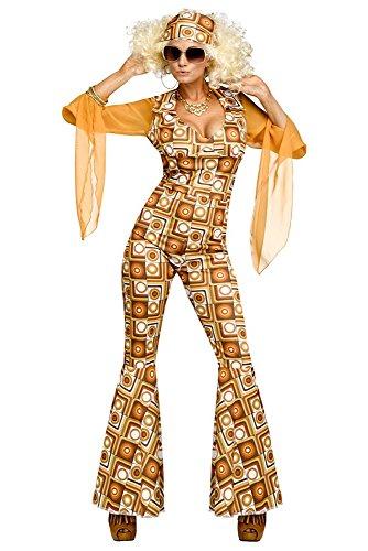 e Damen Kostüm Seventies Retro Overall mit Schlag Schlaghose, Größe:S/M ()