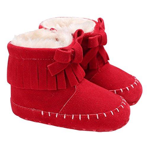 sunnymi Winter Weicher Leder Babyschuhe Stiefel/Mädchen Junge Kleinkind 0-6 ,6-12 ,12-18 Monate/Neugeborene Aufwärmen Schuhe/Lauflernschuhe Krabbelschuhe Baumwolle (0-6 Monate, Rot) (Floral Schürze Print)